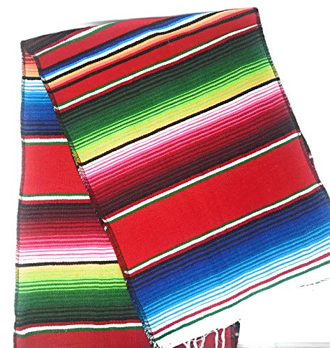 Mexitems Mexican Serape Table Runner 84''x14'' (Red) by Mexitems