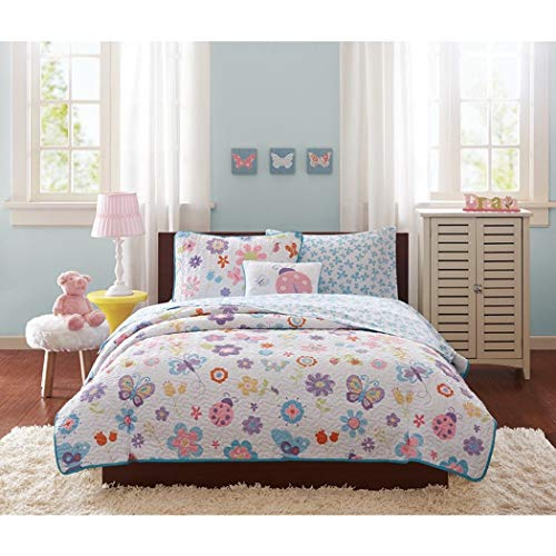 OSD 8pc Full Girls Butterfly Coverlet Bedspread Set, Kids Colorful Butterflies Ladybugs Decorative Pillow Pattern White Blue Pink Yellow Red Purple]()