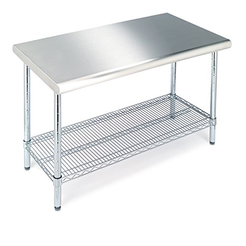 "Seville Classics Commercial-Grade NSF Top Work Table, 49"" W x 24"" D x 35.5"" H, 4 ft, Stainless Steel"