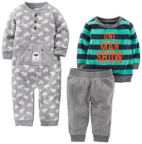 Simple Joys by Carter's Baby Boys' 3-Piece Playwear Set, Gray/Navy, 3-6 Months (Sweater Boys Piece Toddler 3)