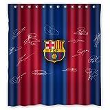 Shoppemarte Blue Red Stripe Signed FC-Barcelona Shower Curtain Standard Size 66 by 72-Inch