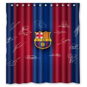 Shoppemarte Blue Red Stripe Signed FC Barcelona Shower Curtain Standard  Size 66 by 72 Amazon com  Shoppemarte Blue Red Stripe Signed FC Barcelona Shower  . Red And Blue Shower Curtain. Home Design Ideas