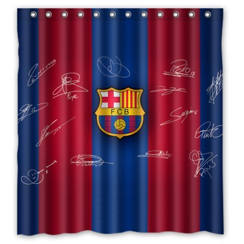 tanger mida blue red stripe signed fc barcelona shower curtain standard size 66 by 72 inch buy. Black Bedroom Furniture Sets. Home Design Ideas