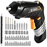 DEKOPRO Cordless Screwdriver, 3.6V Electric Screwdriver Household Battery Rechargeable Drill Driver Power, 47pcs Accessories, Adjustable 2 Position, USB Rechargeable with LED Light