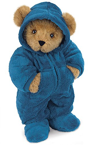 Vermont Teddy Bear Blue Cuddly Pajama Bear  15 Inches  Brown With Blue Onesie   Made In The Usa