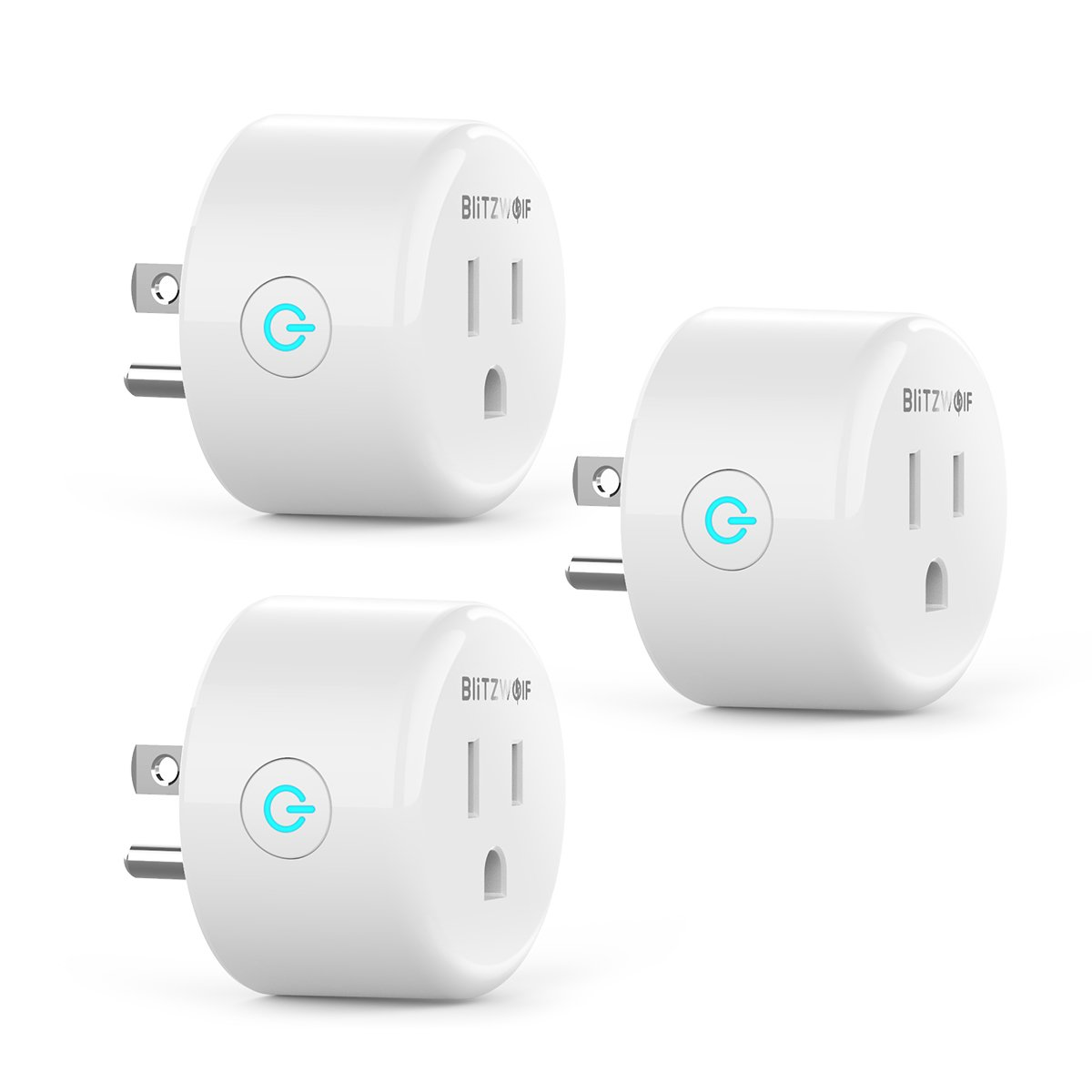 Smart Plug Compatible with Alexa, Google Home, BlitzWolf Mini Outlet Wifi Smart Socket with No Hub Required, Timing, Control Your Devices from Anywhere, ETL Listed, 3-Pack