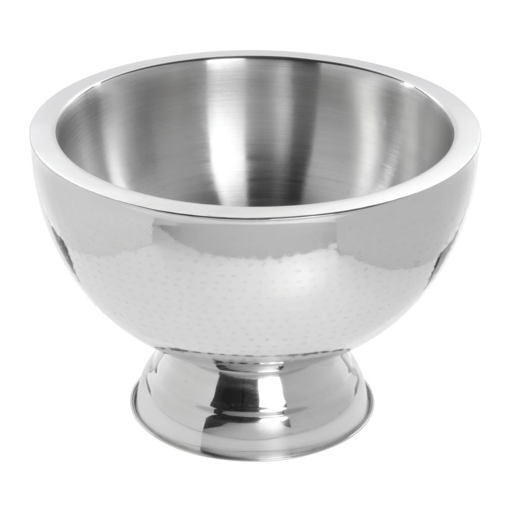 HUBERT Punch Bowl with Hammered Finish and Double WallStainless Steel 15 Liter (4 Gallon)