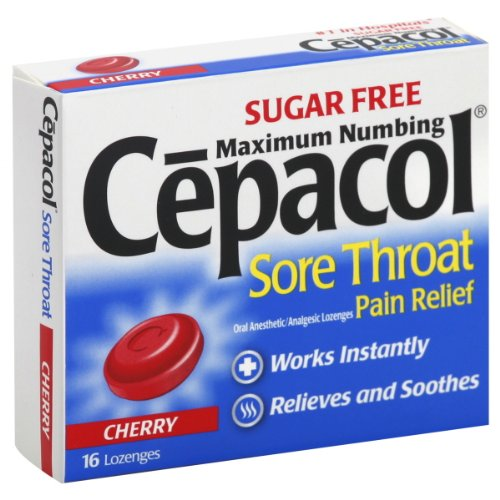 Cepacol Sore Throat, Maximum Numbing, Sugar Free, Lozenges, Cherry, 16 ct.
