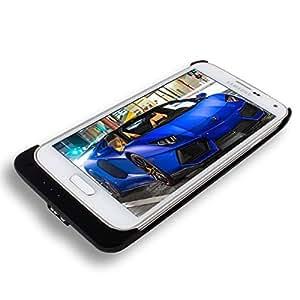 Vanda®-Samsung Galaxy S5 I9600 Powerbank Negro Emergencia De Respaldo De Batería 3200Mah Flip funda de cuero Caja De La Carpeta Con El Soporte De La Visión Integrada-negro