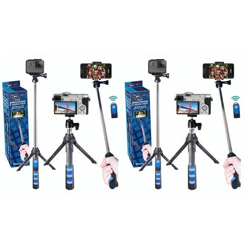 VidPro 2 Pack 2-in-1 Mini Tripod & Selfie Stick with Bluetoo