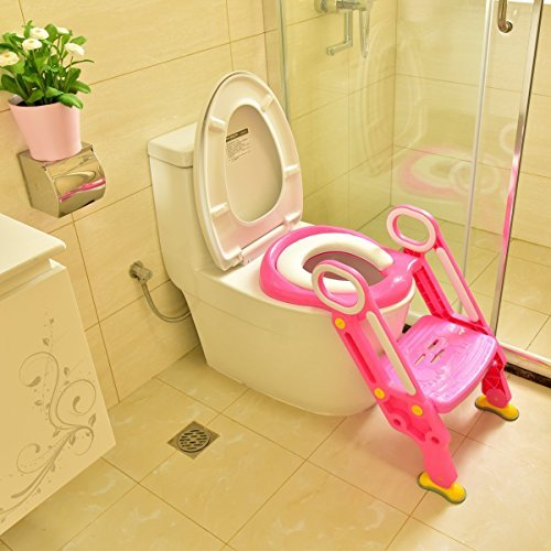 Coreykin Potty Training Seat Toilet Baby Ladder Toilet Trainer Potty Toilet Seat Step Up Toddlers Training Seat Pink by Coreykin (Image #4)