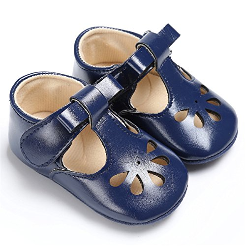 BENHERO Baby Girls Mary Jane Flats with Bowknot Non-Slip Toddler First Walkers Princess Dress Shoes (6-12 Months M US Infant, ()