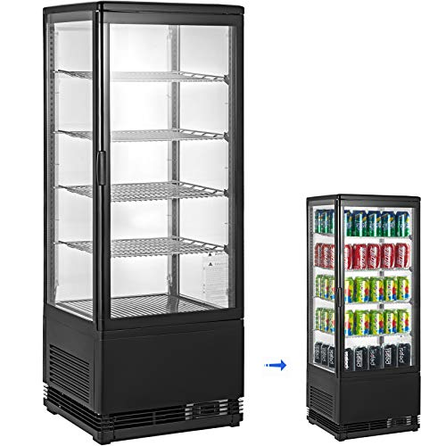 - VBENLEM 3.5 cu.ft. Commercial Beverage Refrigerator 98L Glass Door Countertop Display Cooler Drink Show Case with LED Lighting Black Freestanding Display Fridge for Supermaket Bar Office Use