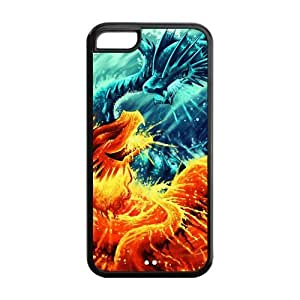 Generic Fire and Ice Dragon Special Design Custom Cover Cases For Iphone 5C TPU