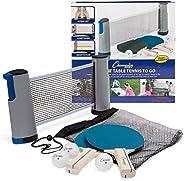 Champion Sports Tênis de mesa em qualquer lugar: kit com raquetes, bolas e suportes de rede portátil de pingue
