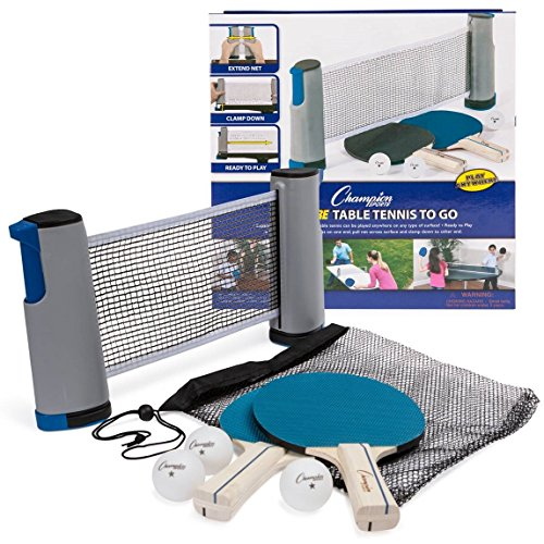 Champion Sports Anywhere Table Tennis: Ping Pong Paddles, Balls, and Portable Net & Post Set To Go (Spin Net)