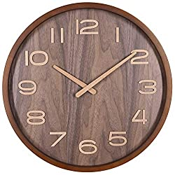 TXL 14 Large Wood Wall Clock Battery Operated Silent & Non-Ticking Quartz Desk Clock with Walnut Dial & Stereo Scale Wooden Kitchen Dining Room Office Decor Round Modern Wall Clock-Brown