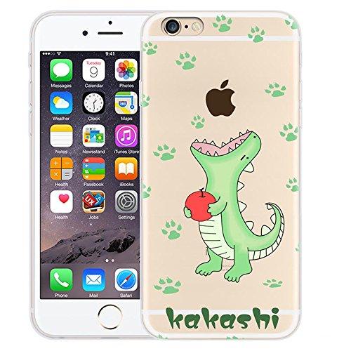 Custodia iPhone 6 / iPhone 6S , LH Piccoli Dinosauri Verdi Creativo TPU Trasparente Silicone Cristallo Morbido Case Cover Custodie per Apple iPhone 6 / iPhone 6S 4.7