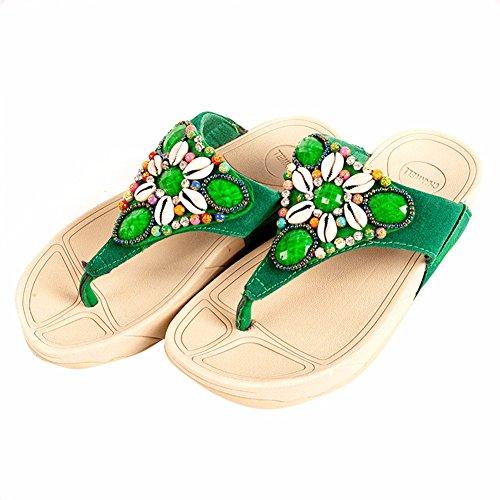 en Et de Plage Talon Remorquer Chaussons Été Les Chaussures Green Pied Talon pour Femmes Mollusques YUCH des fB6Twq