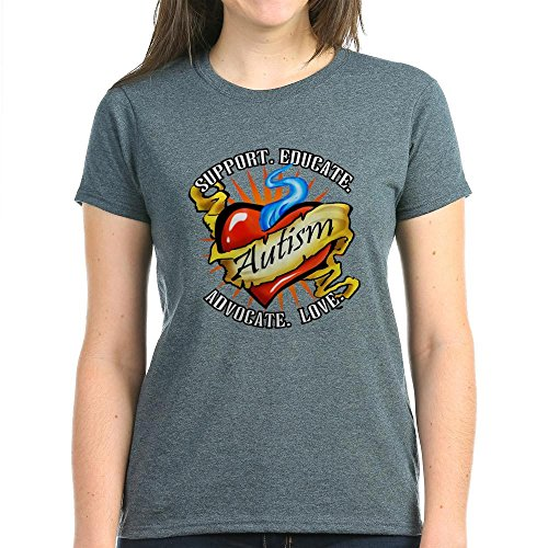 CafePress Autism Classic Tattoo Women's Dark T-Shirt - Womens Cotton T-Shirt