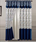 Golden Linens One Piece Embroidery Window Curtains/drape/panel/treatment with Attached Valance And Liner Backing Slate Blue