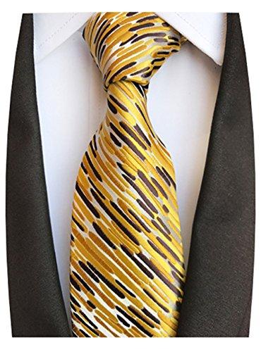 MENDENG Black Gold Striped Tie Woven Jacquard Silk Men's Suits Ties (New Silk Mens Necktie Tie)