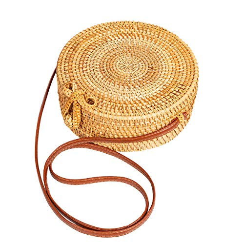 Round Rattan Bag for Women Lefur Handwoven Straw Bag Beach Crossbody Purse with Shoulder Straps Lined Handbag
