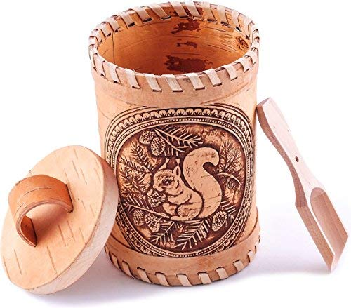 Siberian Folk Craft Birch Bark Container with a Wooden Spoon for Vintage, Rustic or Farmhouse Look. Storage Canister for Serving Tea, Sugar, Salt, Herbs and More (Squirrel)