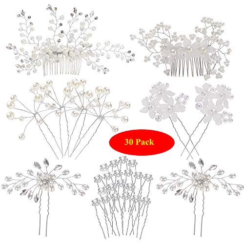 inSowni 30 Pack Wedding Bridal Hair Side Combs+U Shaped Hair Pins Clips Pieces Accessories Barrettes Rhinestone Pearl Flower Silver for Women Girl - Pin Silver Flower