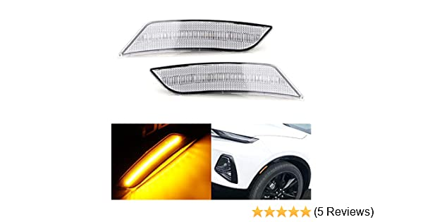Powered by 27-SMD LED iJDMTOY Smoked Lens Amber Full LED Bumper Side Marker Light Kit Compatible With 2019-up Chevrolet Blazer Replace OEM Front Sidemarker Lamps