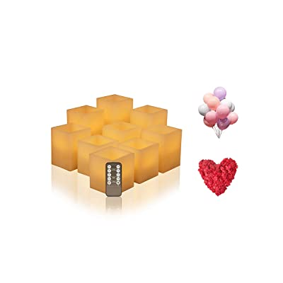 "Flameless Candles Battery Operated, Led Candles (D 3"" x H 3"" 4"" 5"" 6"") Square Ivory Wax and Amber Yellow Flame, auto-Off Timer Remote Control, Large Fake Battery Powered Candles (Ivory-Cube-Set 9B): Home Improvement"