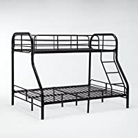 Dehors Sun, Twin Over Full Metal Bunk Bed Frame With Ladder Space-Saving Design Black(Black)
