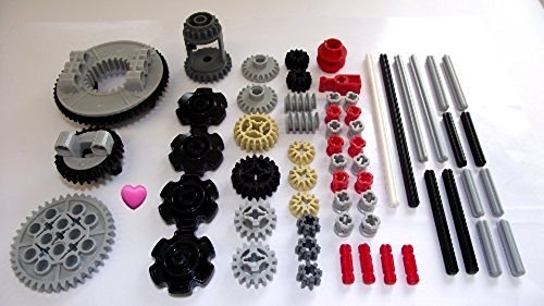 LEGO TECHNIC 60-Piece Gear Wheel, Axle and Stopper Set