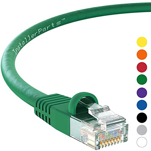 InstallerParts (10 Pack) Ethernet Cable CAT6 Cable UTP Booted 1 FT - Green - Professional Series - 10Gigabit/Sec Network/High Speed Internet Cable, 550MHZ