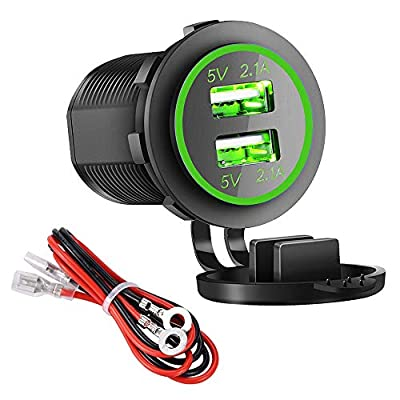 Dual USB Charger Socket Power Outlet - 2.1A & 2.1A for Car Boat Marine Mobile with Wire Fuse DIY Kit (4.2A-Green)