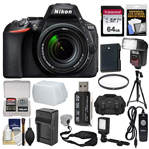 Nikon D5600 Wi-Fi Digital SLR Camera & 18-140mm VR DX AF-S Lens with 64GB Card + Case + Flash + Video Light + Battery & Charger + Tripod + Filter Kit