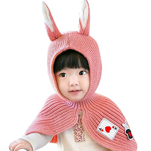 ELFJOY Lovely Rabbit Ears Knitted Hat with Shawl Alice in Wonderland Soft Winter Cap (Pink)