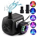 ZMLM Submersible Water Pump 220 GPH-Fountain Pumps (800L/H, 15W), Ultra Quiet 12 LED Colorful Submersible Water Pump Lights with 2 Nozzles, for Fish Tank, Pond, Aquarium, Statuary
