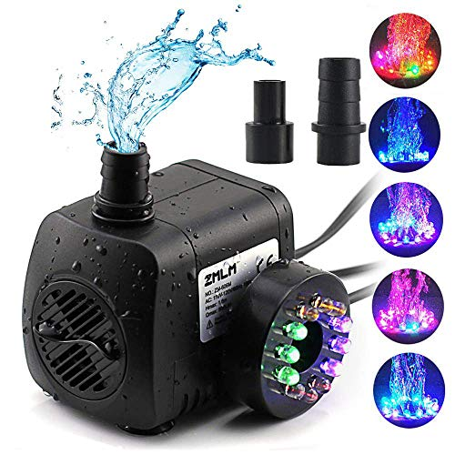 ZMLM Fountain Pump 220 GPH, Submersible Water Pumps (800L/H, 15W), Ultra Quiet Water Pump With12 LED Colorful Lights, 2 Nozzles, Easy Install Powerful Pump for Fish Tank, Pond, Aquarium, Statuary