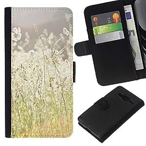 KLONGSHOP // Tirón de la caja Cartera de cuero con ranuras para tarjetas - Verano campo del heno Ray Naturaleza Cálida - Samsung Galaxy Core Prime //