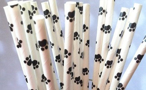 """25 Paper Drinking Straws Dog Paw 7.75"""" Retro Vintage Style Durable"""