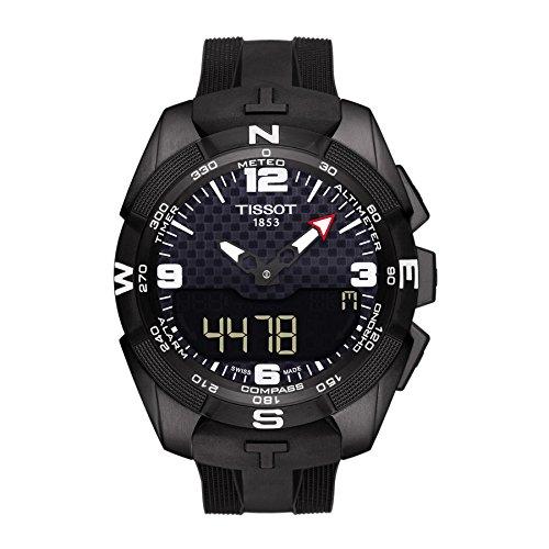 h Expert' Swiss Quartz Titanium and Silicone Dress Watch, Color:Black (Model: T0914204705701) (T-touch Titanium Watch)