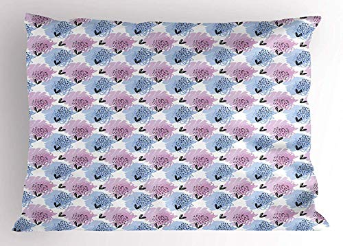 (K0k2t0 Abstract Pillow Sham, Paintbrush Sketch Flowers Watercolor Pastel Murky Abstract Artwork, Decorative Standard Queen Size Printed Pillowcase, 30 X 20 Inches, Lilac Ceil Blue White)