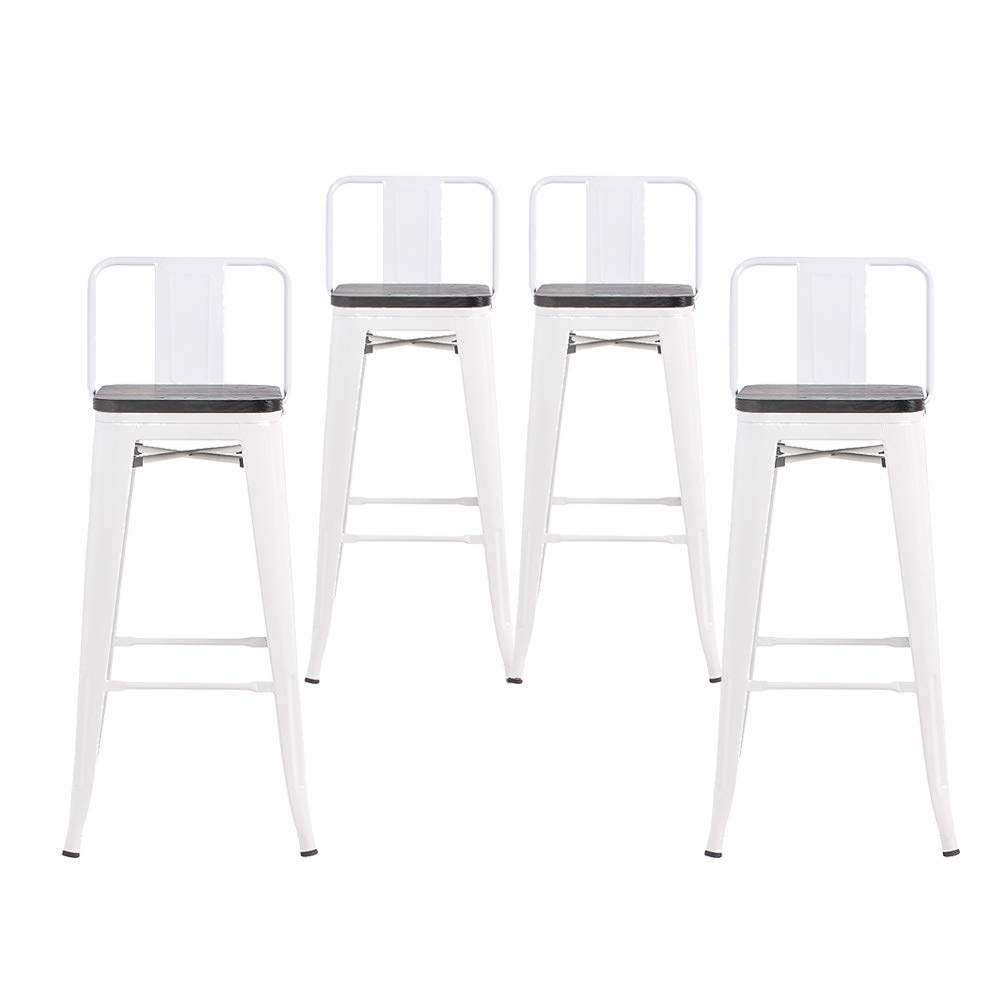 Buschman Set of 4 White Wooden Seat 24 Inch Counter Height Metal Bar Stools with Medium Back Indoor Outdoor by Buschman Store