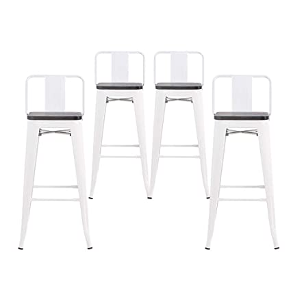Astonishing Buschman Set Of 4 White Wooden Seat 24 Inch Counter Height Metal Bar Stools With Medium Back Indoor Outdoor Short Links Chair Design For Home Short Linksinfo