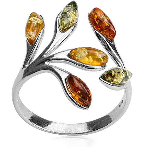 Ian and Valeri Co. Multicolor Amber Sterling Silver Marquise Open Ring