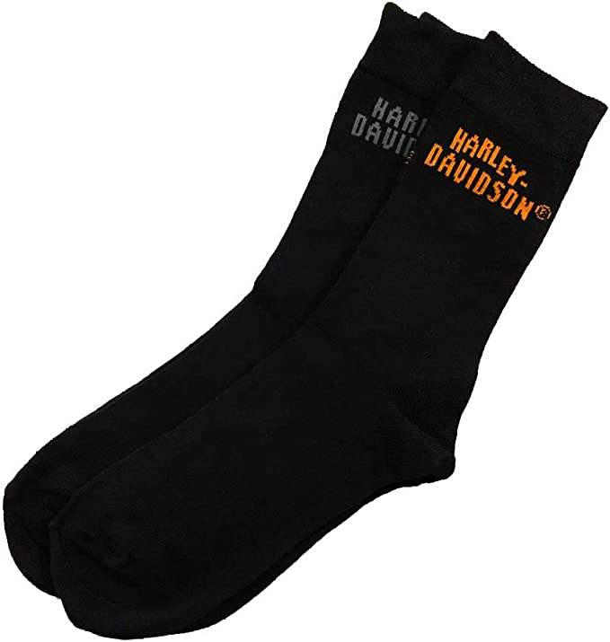 KICKKICK® Calcetines negro oficiales y originales de Harley Davidson - Paquete de 2 pares - Escrito por dos colores diferentes - Calcetines unisex - Tamaño 40-44: Amazon.es: Ropa y accesorios