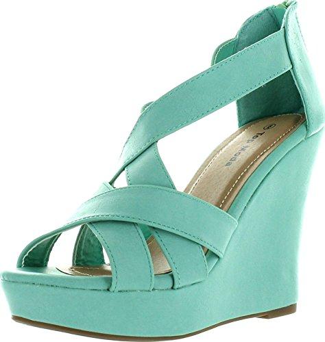 Top Moda Ella-18 Women's Gladiator Wedge Heel Sandals,Lig...