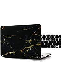 "RYGOU 12"" Macbook Marble Case,2 in 1 Kit Black Marble Pattern Matte Hard Cover with Keyboard Protector for New Macbook 12"" with Retina Display Model: A1534"