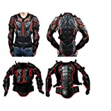 Biking Motorcycle Bike Cycling Riding Full Body Armor Protector Motocross ATV Guard Shirt Jacket Spine Chest Shoulder/Back Protection (Black & Red, 3XL)